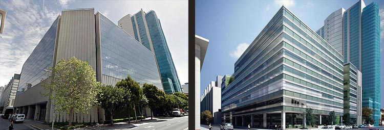 Building before and rendering of building after renovation.