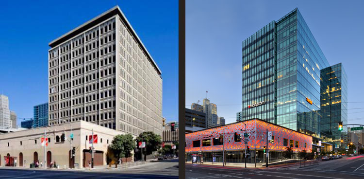 Building before and after renovation.